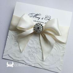 Elegant Lace Wedding Invitation With Ribbon Bow Rhinestone Brooch