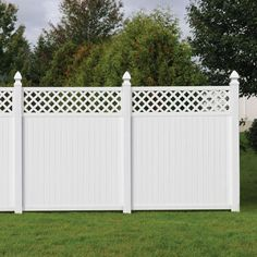 secure the castle surround the home with privacy protection and decoration x 6 ft lewiston lattice top vinyl fence at the home depot