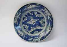 A Rare & Fine Of White On Blue With Cranes Zhangzhou Ware Dish. 17th Century, Asian Art, Crane, Vases, Bowls, Decorative Plates, Archive, Pottery, Ceramics
