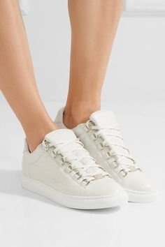 b8a2864cf7f8 Balenciaga - Arena Crinkled-leather Sneakers - White
