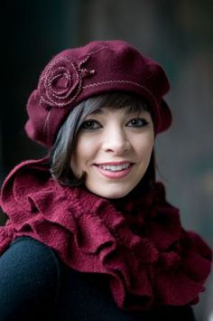 This is really a fall flower beret from http://www.lisashaub.com/index.php/catalog1/fall-womens-hats/ but too cute not to pin now.  It's always fall somewhere.