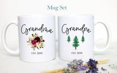 Grandpa and Grandma Mug Set #2, Baby Announcement, New Grandparents Mug, New Grandpa, New Grandma, P Grandma Mug, New Grandma, Coffee Mug Sets, Mugs Set, The Office Mugs, New Grandparents, Personalized Coasters, Scratch Off, Grandparent Gifts