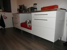 This is a nice, large kitchen IKEA hack piece.  This dog bed is nice because dogs often prefer to be covered on three sides, it makes them feel comfortable and safe.
