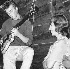 august 29, 1959     John Lennon. Future wife Cynthia looking on.