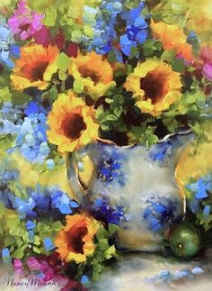 Morning Sunnies Sunflower and Delphinium Painting and the Joys of Passive Income by Floral Artist Nancy Medina, painting by artist Nancy Medina