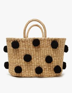 Pom Pom Tote Straw Basket
