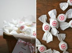 Step One: Wrap your candy in tissue paper (2 sheets works best)  Step Two: Stamp each repackaged candy (test the stamp out a few times on some paper)