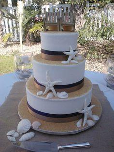 wedding cake beach seashells starfish theme by www.americandreamcakes.com