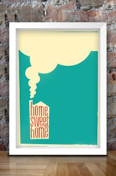 Home Sweet Home Retro Style Print A3 by thedesignersnursery, $25.00  #homesweethome, #thedesignersnursery