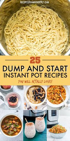 This awesome collection of tried and tested Dump and Start Instant Pot Recipes includes a variety of delicious and easy breakfasts, soups and stews, main dishes, side dishes and desserts. Just dump in the Instant Pot, press start and the magic pot will do Best Instant Pot Recipe, Instant Pot Dinner Recipes, Recipes Dinner, Instant Recipes, Instant Pot Yogurt Recipe, Dinner Ideas, Dessert Recipes, Dump Meals, Easy Meals