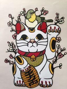 Fortune cat, paper cutting art by Ton Maneki Neko, Lucky Cat Tattoo, Japanese Legends, Paper Cutting Templates, Japanese Cat, Japan Art, Mandala, Kirigami, Fantasy Art