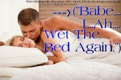 Man wets bed next to hi girlfriend