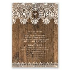 Rustic Barn Wood, Lace Wedding Invitation - Refined, Vintage, Antique at Invitations By David's Bridal