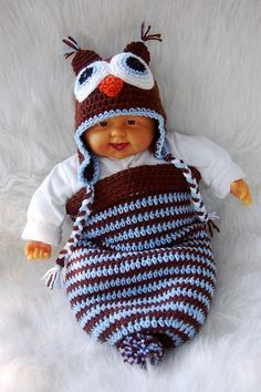 Brown/Blue Owl Cocoon and Hat