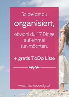 So bleibst du organisiert + gratis ToDo Liste | www.miss-webdesign.at