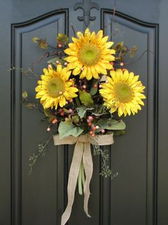 Summer Sunflower Bouquet - Front Door Decor - Summer Wreath Need a wreath hanger for your arrangement? Check out my selections here: http://www.etsy.com/shop/twoinspireyou?section_id=11480447 *** I have TWO of this particular style left to create. They go fast... dont delay.