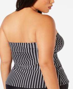 d27e06dcf95ac Raisins Curve Trendy Plus Size Juniors' Del Mar Bandeau Tankini Top - Black  16W Tankini
