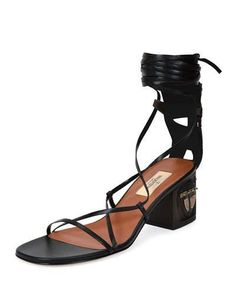 Valentino Red Mask Heel Lace Up Leather Sandals Black Brown Nero Ebano Women's 35 5 Lace Up Sandals, Open Toe Sandals, Lace Up Shoes, Black Sandals, Leather Sandals, Sandals Outfit, Heeled Sandals, Women Sandals, Valentino Boots