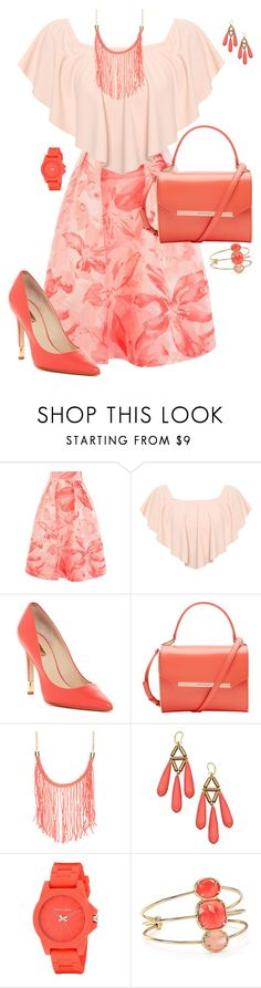 """""""Peach Floral"""" by designcat-colour ❤ liked on Polyvore featuring Coast, WearAll, GUESS, Ted Baker, David Aubrey, Vince Camuto, Kate Spade, floralprint, pantone and peachecho"""