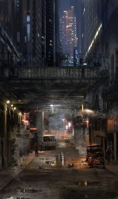 atomhawk on deviantART / underpass / cyberpunk / industrial / sci fi city / futuristic / techie / dark future / digital art / city lights Arte Cyberpunk, Cyberpunk City, Ville Cyberpunk, Futuristic City, Cyberpunk Anime, Cyberpunk Aesthetic, Environment Concept, Environment Design, Ville Steampunk
