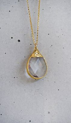 Crystal Briolette Drop 14k Gold Filled by shopkei, $45.00