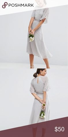 ASOS WEDDING Embellished Flutter Sleeve Midi Dress Great wedding and bridesmaid dress! Brand new, still has tags ASOS Dresses Wedding