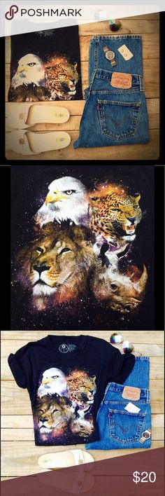 Vintage Majestic Creatures Animals Tee T-Shirt Hipster Vintage Animal Magical Wildlife Kingdom Black Tee with A Bald Eagle, A Lion, A Leopard Cheetah, & A Rhinoceros. Tops Tees - Short Sleeve