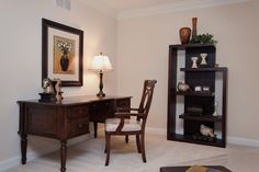 Home office with dark wood