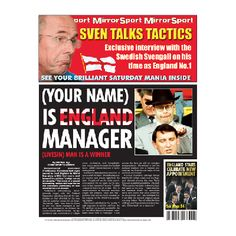 Do you know someone who is worthy of becoming the next England manager? Announce the news on a spoof newspaper! #England #Football #EnglandManager #SpoofGifts #FunGifts £11.99