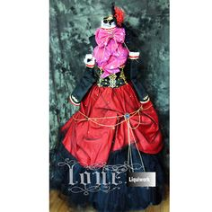 Red and Black Medieval Goth Queen Cosplay Halloween Clothing Costumes Gowns SKU-131175