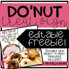 "{FREEBIE} Editable ""Donut"" Treat Sign"