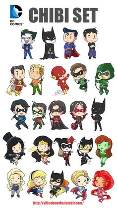 Joker, Batman, superman, superboy, captain marvel, aqua man, flash, green lantern, green arrow, night wing,Robin(Damian), red Robin, Zatanna, super woman, Harely Quinn, cat woman, poison ivy, black canary, super girl,batgirl, and Starfire. I didn't know about 3..... Sorry...