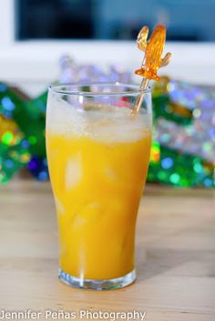 Mexican Morning:      1 oz tequila     1/2 oz peach schnapps     2 oz orange juice     2 oz mango puree  In a shaker, add ice and all of the ingredients above.  Shake and pour everything into a tall glass.