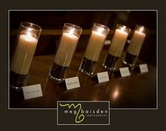 memorial table idea - make place cards and put in front of a candle (and i think a photo as well)