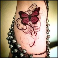 Red Butterfly with Swirls Tattoo