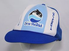 Vintage 80s 90s Seaworld San Diego Orca Whale Snapback Trucker Hat Cap Hipster #Unbranded #Trucker