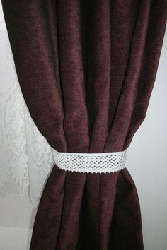 Curtain tie backs Crochet curtain tiebacks Curtain holders Pair of curtain tie backs Window decor Home decor Crochet home from CrochetedCosiness on Etsy.