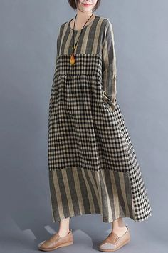 going out outfits Paneled Striped Plaid Print Vintage Maxi Dress kukaus Hijab Fashion, Fashion Dresses, Maxi Dresses, 1950s Dresses, Vintage Dresses, Dress Outfits, Going Out Outfits, Simple Dresses, Casual Dresses