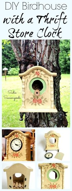 Repurposing thrift store finds into a DIY birdhouse is easier than you think! I upcycled this broken desk clock into a bird house and it looks just adorable in our yard! Birds like wrens will nest in just about anything (just don't use metal) so this clock was perfect. Get all the DIY details for this craft project in the full tutorial! #SadieSeasongoods / www.sadieseasongoods.com