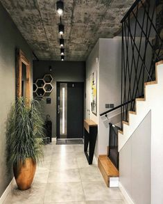 Hallway Designs, Foyer Design, Home Room Design, Interior Design Living Room, Living Room Designs, House Design, Loft Design, Home Entrance Decor, Home Decor