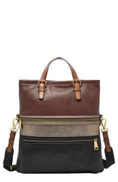 Women's Fossil 'Explorer' Leather Foldover Tote