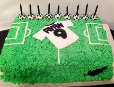 Soccer themed birthday cake