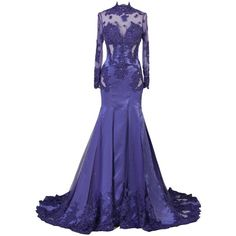 Ellames Lace Long Prom Party Dress High Neck Evening Gowns With... ($87) ❤ liked on Polyvore