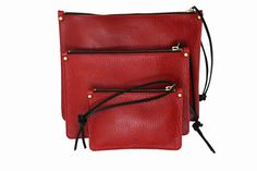 Simple Red leather clutch in 3 sizes - ARDOISE ROUGE