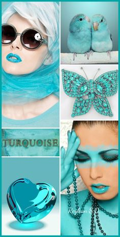 Turquoise by Reyhan SD Bleu Turquoise, Shades Of Turquoise, Aqua Blue, Shades Of Blue, Beautiful Color Combinations, Color Combos, Color Schemes, Pantone, Color Collage