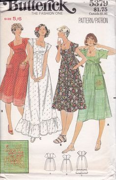 FREE US SHIP Butterick 5379 Sewing Pattern Vintage Retro 1970s 70s Smock Dress Maxi Empire Bohemian Gypsy Boho Uncut Size 5/6 by LanetzLiving on Etsy