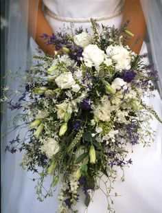 Summer trailing ivy bouquet with white and purple ... | Wedding Bouqu…