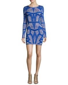 Long-Sleeve Short Jacquard Dress, Blue