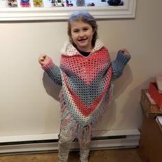 made with Lion Brand Mandala yarn Hooded Poncho, Poncho Sweater, Lion Brand Mandala Yarn, Knit Crochet, Children, Sweaters, Pattern, Fashion, Young Children