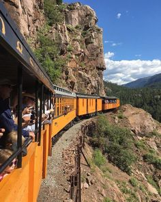 "(As per Country Living, ""This much loved train has been in continuous operation between the towns of Durango and Silverton since going on to mention the ""majestic vistas enjoyed from the splendor of the antique train cars. Top Travel Destinations, Places To Travel, Places To Go, Train Travel, Travel Usa, Durango Train, Silverton Train, Road Trip To Colorado, Train Rides In Colorado"
